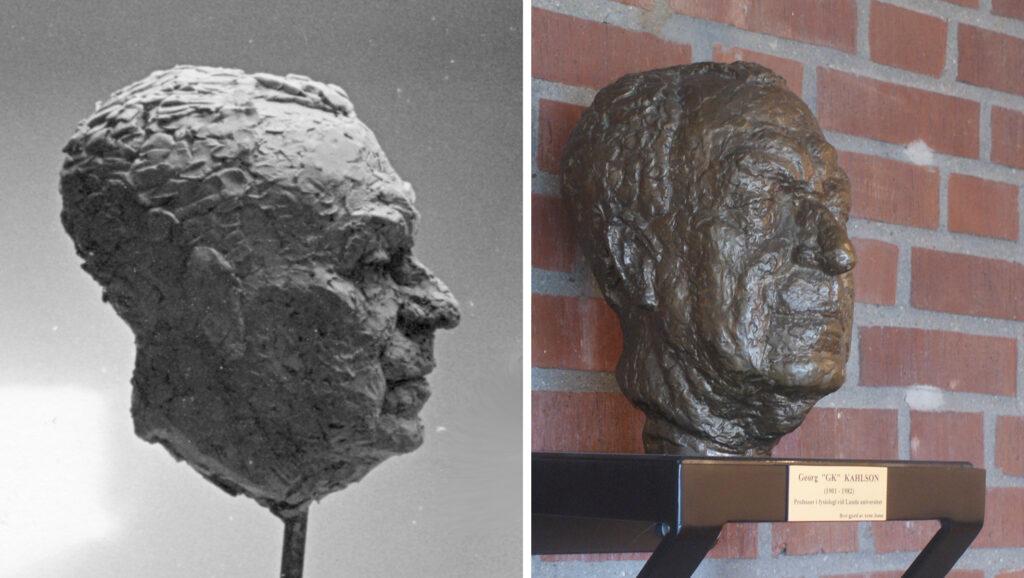 """Skulptur av Georg """"GK"""" Kahlsons huvud under modellering och utställd på BMC i Lund"""